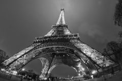 Tour Eiffel at night in black and white Stock Images