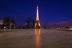 Tour Eiffel by night - Trocadero view. The best view of the Eiffel Tower is actually from the opposite side of the river Seine at the Trocadéro. Here a view in Royalty Free Stock Photography