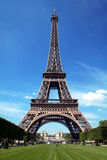 Tour eiffel, Paris, France. With clear blue sky in tha background, green grass in front stock photography
