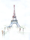 Tour Eiffel romantic illustration  drawing water color paints and crayons, crayon, paint drops. Background texture Stock Photos