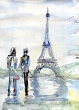 Tour Eiffel romantic illustration heart frame drawing water colo Stock Photography