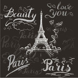 Tour Eiffel romantic vector illustration heart frame drawing wat Royalty Free Stock Photography