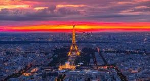 Tour Eiffel sunset panorama royalty free stock photo