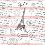 Tour Eiffel, texte, emboutit Image libre de droits