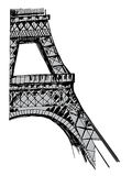 Tour Eiffel tiré par la main illustration de vecteur