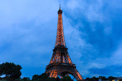 Tour Eiffel at Twilight, Eiffel Tower in Paris, France. Stock Photo