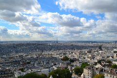 Tour Eiffel, vue de colline de Montmartre, Paris, France Photographie stock