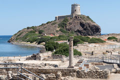 Tour espagnole antique de Coltellazzo et de vieille ville Nora photos stock