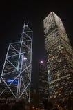 Tour et Cheung Kong Centre de la Banque de Chine par proche Image libre de droits