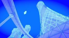 Tour Futur horizon de ville de concept Concept futuriste de vision d'affaires illustration 3D Images libres de droits