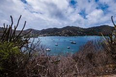 Tour of the Grenadines. Beautiful view of the Grenadines, blue sky and waters Stock Photo
