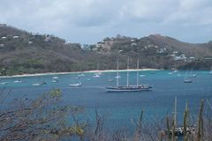 Tour of the Grenadines. Beautiful view of the Grenadines, blue sky and waters Stock Photography