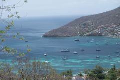 Tour of the Grenadines. Beautiful view of the Grenadines, Port Elizabeth, blue sky and waters Stock Photo