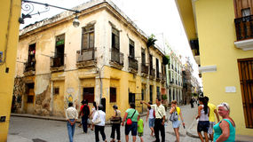 Tour group in the center of Havana. Stock Images