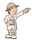 Tour Guide. Pointing and showing tourist around vector illustration
