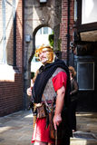 Tour Guide as Roman Soldier in Chester the county city of Cheshire in England stock photo