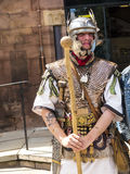 Tour Guide as Roman Soldier in Chester the county city of Cheshire in England royalty free stock photo
