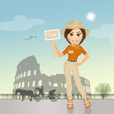 Tour guide girl in Rome. Illustration of tour guide girl in Rome Stock Photo