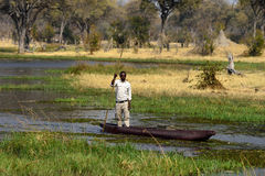 A tour guide on a mokoro canoe in Botswana Stock Photo