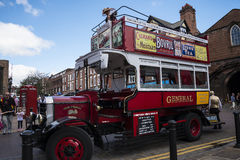 Tour Guide Omnibus in Chester the county city of Cheshire in England royalty free stock photography
