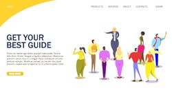 Tour guide vector website landing page design template. Get your best guide vector website template, web page and landing page design for website and mobile site stock illustration