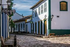 Old houses on the streets of Tiradentes, MG, Brazil stock images