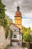 Tour historique de porte de ville dans Dinkelsbuehl Images libres de droits