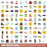 100 tour icons set, flat style. 100 tour icons set in flat style for any design illustration stock illustration