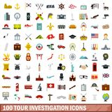 100 tour investigation icons set, flat style. 100 tour investigation icons set in flat style for any design vector illustration vector illustration