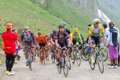 Tour of Italy: Cyclist racing on mountain dirt road Royalty Free Stock Photo