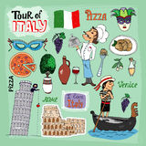Tour of Italy illustration. With landmarks including the leaning Tower of Pisa Venice gondola Colosseum a gondolier chef and food icons of a pizza and pasta royalty free illustration