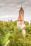 Tour médiévale de montre dans Dinkelsbuehl Photos stock