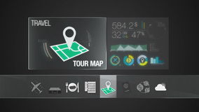 Tour map icon for travel contents.Digital display application.