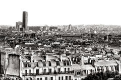 Tour Montparnasse Tower and Paris Rooftops France Royalty Free Stock Photos