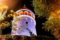 Tour, mur et arbres d'Istanbul Galata Image stock