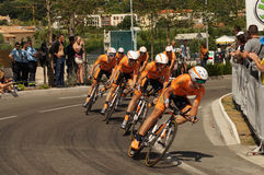 The Tour 2013. NICE - JULY 2ND : The TOUR 2013  (Tour de France) .EUSKALTEL - EUSKADI Team during Nice/Nice Stage 4 (25 km Stock Photography