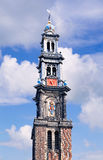 Tour occidentale à Amsterdam, une partie de l'église occidentale, Amsterdam, Pays-Bas photographie stock