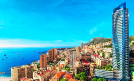 Tour Odeon, Monte Carlo and the sea. The Odeon tower is the tallest skyscraper in Monaco Stock Photography