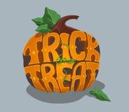 Tour ou festin Affiche de Halloween avec la main illustration stock