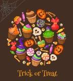 Tour ou festin Bonbons et sucreries traditionnels illustration libre de droits