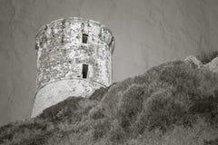 Tour Parata. Ancient Genoese tower, Corsica. Tour Parata. Ancient Genoese tower on Sanguinaires peninsula near Ajaccio, Corsica, France. Stylized vintage sepia Stock Image