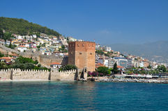 Tour rouge dans Alanya Photographie stock
