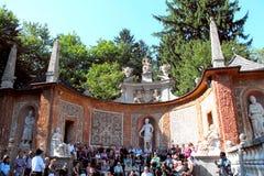 Tour of Schloss Hellbrunn, Salzburg, Austria. Schloss Hellbrunn visitors awaiting a tour of the Wasserspiele (trick fountains Royalty Free Stock Images