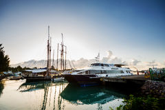 Tour ships docked. At the shore seychelles Royalty Free Stock Photo