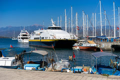 Tour ships docked. In harbor,Fethiye Turkey Royalty Free Stock Photography