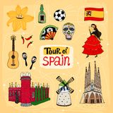Tour of Spain hand-drawn illustration Stock Photo