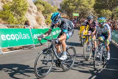Tour of Spain. Malaga, Spain - August 23, 2015: Johan Chaves (Stage's Winner), Tom Dumoulin and Nicolas Roche on their last 500 metres on the Caminito del Rey Royalty Free Stock Image