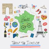 Tour to France icon set. royalty free illustration