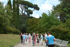 Tour tourists in the Park. In Crimea royalty free stock images