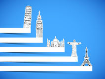 Tour and Travel concept with famous monuments. Stock Images